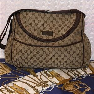 Authentic Gucci GG Brown Diaper Bag
